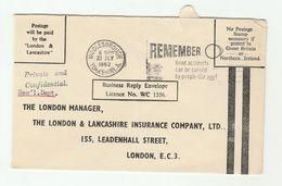 1962 Middlesbrough GB COVER SLOGAN  ROAD SAFETY Remember Road Accidents, Stamps - Accidents & Sécurité Routière