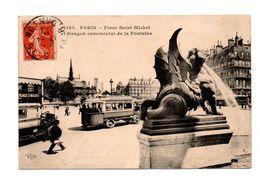 75 - PARIS . PLACE SAINT-MICHEL ET DRAGON ORNEMENTAL DE LA FONTAINE . Autobus - Réf. N°7910 - - Squares