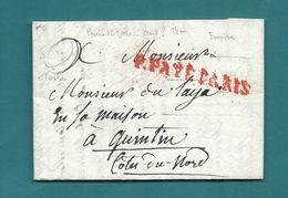 Dispersion D'une Collection De Paris. Pour Quintin (Cotes Du Nord). Lettre En Port Payé - Marcophilie (Lettres)
