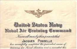 CERTIFICAT-UNITED STATES NAVY NAVAL AIR TRAINING COMMAND 1956 - Documenten