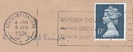 1991 GB COVER SLOGAN Pmk SUNDAY COLLECTIONS CHECK POST BOX Northampton Gb Stamps - Post