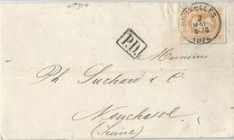 6Rm-040:  N° 33 : E10: BRUXELLES 2 MAI 6-7S 1874 > Neuchatel (Suisse)  + PD - 1869-1883 Leopoldo II