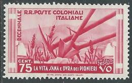 1933 EMISSIONI GENERALI DECENNALE 75 CENT MH * - I41-5 - General Issues