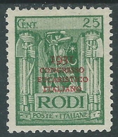 1931 EGEO CONGRESSO EUCARISTICO 25 CENT MH * - I38-2 - Egeo