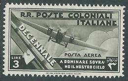 1933 EMISSIONI GENERALI POSTA AEREA DECENNALE 3 LIRE MH * - I41-6 - Italy