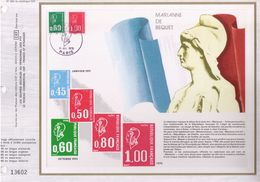 FEUILLET CEF, TIRAGE 24.500 EX,MARIANNE DE BEQUET, 1976 - Philatélie & Monnaies