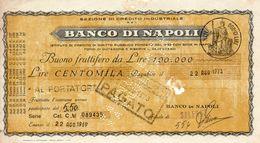1969 Banco Di Napoli BUONO FRUTTIFERO - Cheques & Traveler's Cheques