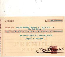 1929 NAPOLI RICEVUTA CON MARCA DA BOLLO - Cheques & Traverler's Cheques