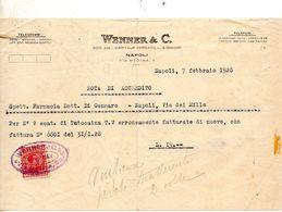 1928  NAPOLI RICEVUTA CON MARCA DA BOLLO - Cheques & Traveler's Cheques