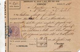 1892 RICEVUTA CON MARCA DA BOLLO - Italia
