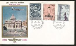 J) 1967 VATICAN CITY, THE GOLDEN SERIES, JET OVER ST. PETER'S CATHEDRAL, MULTIPLE STAMPS, AIRMAIL, SET OF 2 FDC - Covers & Documents