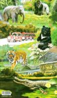 Elephant Black Bear & Tiger Of 2014 100th Taipei Zoo Stamps S/s Chimpanzee Orangutan Train Flower Gorilla Frog Crocodil - 1945-... Republic Of China