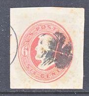 U.S. U  181 A  VERMILLION  ON  AMBER      (o)   1874-86  Issue - Postal Stationery