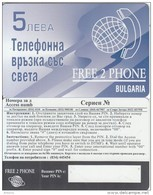 BULGARIA - Free 2 Phone Prepaid Card 5 Leva, Sample - Bulgaria