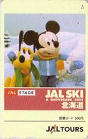 Carte Prépayée Japon - DISNEY - JAL - MICKEY & Chien Pluto Au Ski - JAPAN AIRLINES Prepaid  Tosho Card - Disney