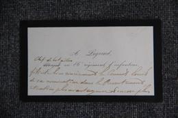 Carte De Visite De Monsieur A.LEGRAND, Chef De Bataillon Au 86 ème Régiment D'Infanterie - Cartes De Visite