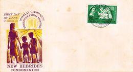 FDC NOUVELLES HEBRIDES 02.09.1963 - Campagne Mondiale Contre La Faim - FDC