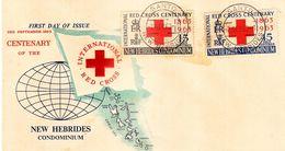 FDC NOUVELLES HEBRIDES 02.09.1963 - Centenaire De La Croix Rouge Internationale - FDC