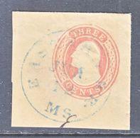 US CUT  SQUARE  U 6  BUFF  FULL CORNER  (o)   1853-55  ISSUE - Postal Stationery