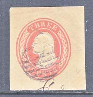 US CUT  SQUARE  U 10  BUFF    (o)   1853-55  ISSUE - Postal Stationery