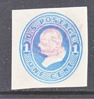 US CUT  SQUARE  U 74    (o)   1870-71  ISSUE - Postal Stationery