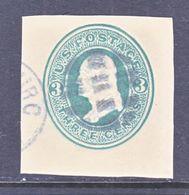 US CUT  SQUARE  U 84   CREAM    (o)   1870-71  ISSUE - Postal Stationery