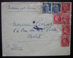 1948 Dampierre Sur Loire  (maine Et Loire) Recommandé Provisoire LR586 Marque Noire Dampierre Pour Cholet - Postmark Collection (Covers)