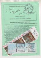 ORDRE DE REEXPEDITION MARCQ EN BAROEUL 59 NORD 1995  - CROIX ROUGE ARRAS ( 3 ) VIGNETTE OISEAU A 99,80 FRS SOIT 110 FRS - Post