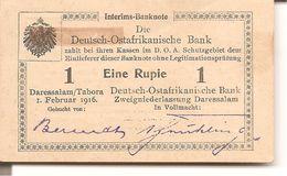 Deutsch-Ostafrikannische Bank  Eine Rupie  ( 1916 Rare ) - [ 2] 1871-1918 : Duitse Rijk