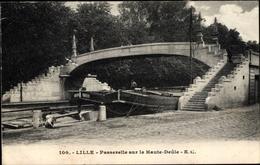 Cp Lille Nord, Passerelle Sur La Haute Deûle, Brückenpartie, Lastkähne - Frankreich