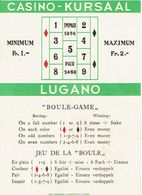 Carte Du Casino-Kursaal De Lugano - Boule Game - Cartes De Casino