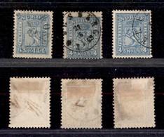 2475 NORVEGIA - 1863/1868 – 4 Skilling Leone Rampante (unif.8+14+14) – 3 Pezzi – Usati - Francobolli