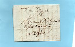 """Linéaire """"33 MONTPELLIER"""",40X9mm, Et Manuscrite """"momp.""""avec Corresp. Du 19 Mars 1792 - Marcophilie (Lettres)"""