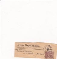 """Sage N° 85 Sur Bande  Oblitération OR Et Journaux"""" Lyon Républicain"""" St Crépin (Htes-Alpes) 1887 - 1876-1898 Sage (Type II)"""