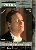 DISQUE VINYLE 45 TOURS AVEC CATALOGUE  CZIFFRA - CHOPIN - LISZT - Valse N°14 - ETUDE EN UT M - CAPRICE POETIQUE N°3 - Klassik