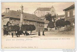 STERNBERG: GRUSS  AUS...  -  MAHREN  -  FURST  JOHANN  LIECHTENSTEINPLATZ  MIT  MARIEN  STATUE  -  KLEINFORMAT - Sternberg