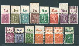MiNr. 177, 179, 180, 181, 182, 183 P+W, 184, 185, 187, 189 P+2xW, 193 ** Oberrand   WZ 2 (Waffeln) - Unused Stamps