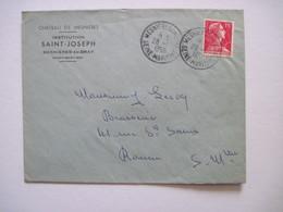 1956  CHATEAU DE MESNIERES En BRAY  76 Institution SAINT-JOSEPH - Marcophilie (Lettres)