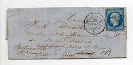 - Lettre Vitré (cachet BREST A PARIS) Pour PARIS Pour LES BATIGNOLLES 20 AOUT 1859 - A ETUDIER - - Marcophilie (Lettres)