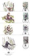 Singes - Le Douc Et Le Gibbon Noir - 4 FDC Vietnam De 1987 - Série Complète - Apen