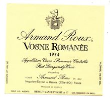 Etiquette Bourgogne Vosne Romanée 1974   Armand Roux - Bourgogne