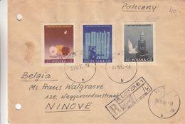Pologne - Lettre Recom De 1955 - Oblit Klodzko - Exp Vers Ninove - Fleurs - Statues - Oiseaux - 1944-.... Republic