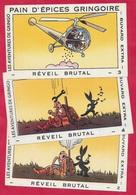 """BUVARD (Lot De 3) """"REVEIL BRUTAL"""" 2, 3 Et 4 Du Pain D'Epices GRINGOIRE (45 Pithiviers) * Humour Hélicoptère Chasse - Gingerbread"""