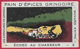 """BUVARD """"ECHEC Au CHASSEUR"""" N° 3 Du Pain D'Epices GRINGOIRE (45 Pithiviers) * Humour Jeu D' Echecs Chien Lapin - Pain D'épices"""