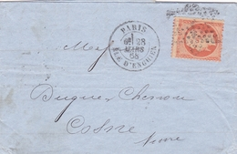 Napoléon III N°23 Lettre Paris>Cosne (Nièvre) 1868 - 1862 Napoléon III