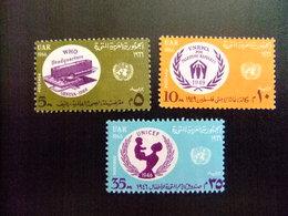 EGIPTO EGYPTE EGYPT UAR 1966 REFUGIADOS - OMS - UNICEF Yvert  687/ 89 ** MNH - Refugiados