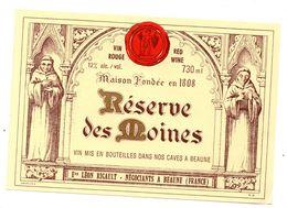Etiquette Vin  Bourgogne Beaune Réserve Des Moines - Bourgogne