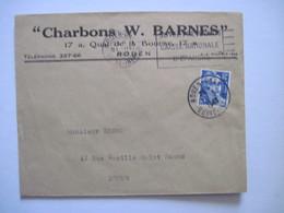 """1949 """"Charbons W. BARNES""""   ROUEN - Marcophilie (Lettres)"""