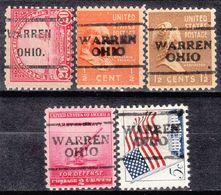 USA Precancel Vorausentwertung Preo, Locals Ohio, Warren 701, 5 Diff., Perf. 11x10 1/2 - Vereinigte Staaten