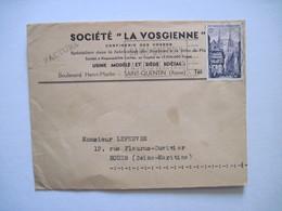 """1955  Société """"LA VOSGIENNE"""" Confiserie Des VOSGES  SAINT QUENTIN (Aisne) - Postmark Collection (Covers)"""